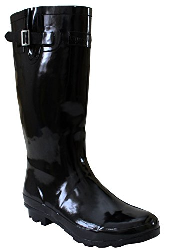 A&H Footwear Ladies Womens Wide Calf Adjustable Snow Rain Mud Festival Waterproof Wellington Boots Wellies UK 3-8 (Maximum Calf Width 42 cm)