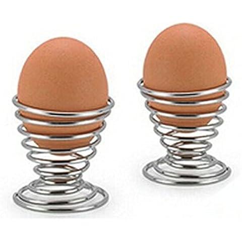 Ecloud Shop® acero inoxidable bandeja de huevos 6pcs Huevera Mini primavera de alambre de huevo
