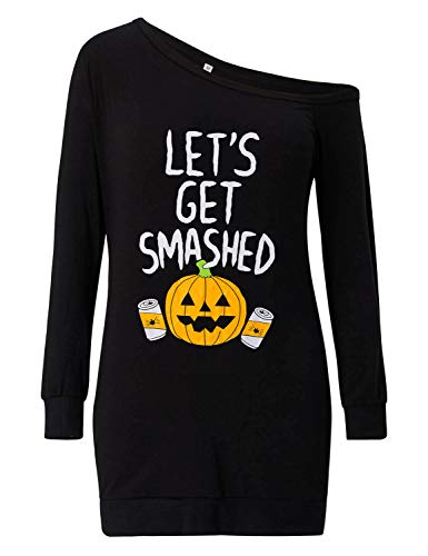 Loveternal Femme Halloween T-Shirt Off Shoulder Robe 3D Imprimé Manches Longues Top M-XXL