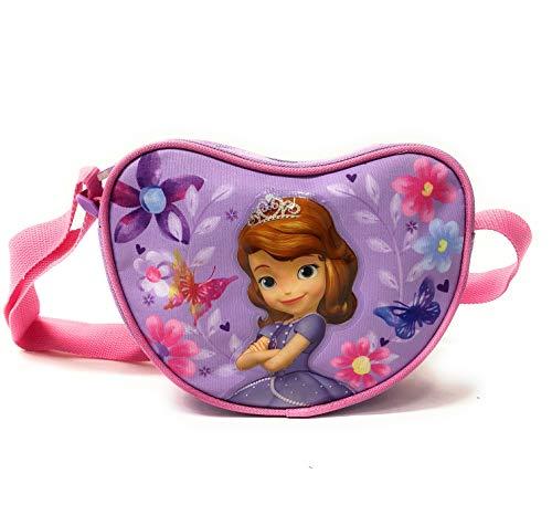 tasche für Kleine Mädchen - Kinder Handtasche Disney in Form eines Herzens - Lila Umhängetasche - 18x14x6 cm - Perletti ()
