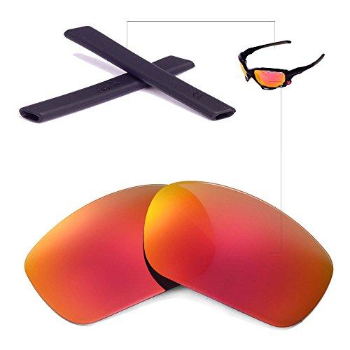 Walleva Wechselgläser Und Earsocks für Oakley Racing Jacket Sonnenbrille - Mehrfache Optionen (Feuerrot Polarisierte Linsen + Schwarzer Gummi)