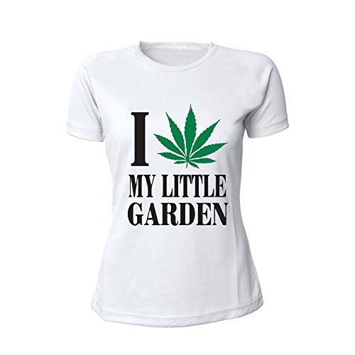 T-Shirt Donna Bicolore Personalizzata Maglietta Femminile Originale I Love my Little Garden Bianco