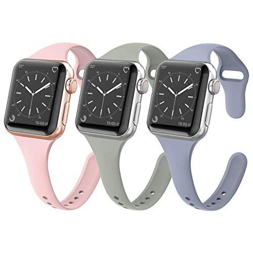HYDONG Kompatibel für Apple Watch 38mm 40mm Armband Weiches Silikon Ersatz Fitness Armband - Schmales Sportarmband Ersatzarmband für iWatch Serie 4, Serie 3, Serie 2, Serie 1-Pink/Grau-blau/Grau-grün