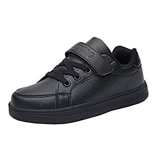 AOOPOO Boys Girls Breathable Lightweight Running Shoes Sneakers Leather Unisex Kids' Casual Shoes(Black,3UK Child)