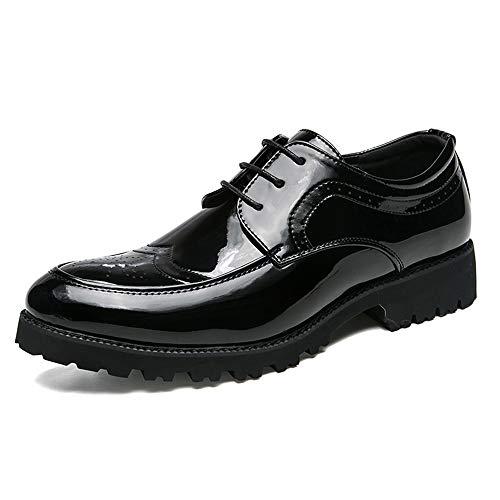 Kleid Schuhe Casual Einfache Kostüm Schuhe Britischen Stil Schnitzen Lackleder Brogue Party Schuhe (Color : Schwarz, Größe : 42 EU) ()