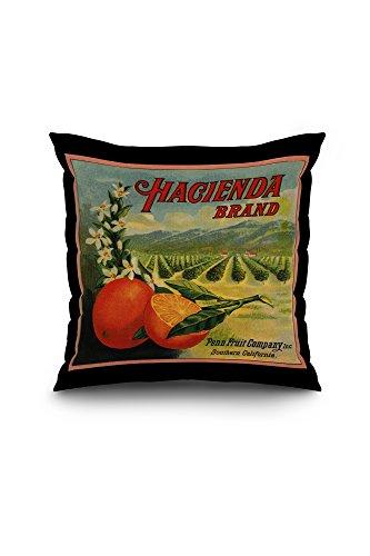 Hacienda Brand - California - Citrus Crate Label (18x18 Spun Polyester Pillow Case, Black Border)