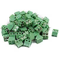 sourcing map 50pcs Conector bloques terminales PCB KF128 AC300V 10A 2P 3,81mm Tipo tornillo