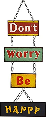 Nicola Spring Hanging Metal 4 Panel Wall Plaque - Don't Worry Be Happy