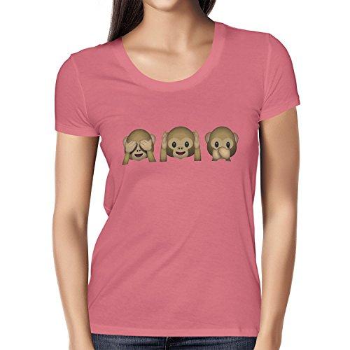 TEXLAB - Three Monkeys Emoji - Damen T-Shirt Pink