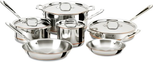 All-Clad 600822 SS Copper Core 5-Ply Bonded Dishwasher Safe 10-Piece Cookware Set, Silver