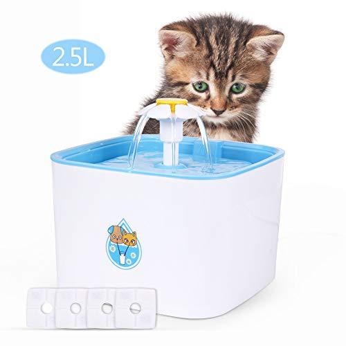 Fontanella per Animali 2.5L Fontana Elettrica del Fiore HOSPORT Ciotola per Acqua Potabile con 4 Filtri di Ricambio per Gatti Cani Uccelli Piccoli Animali ecc(Blu)