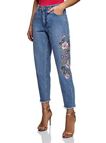 Oodji ultra donna jeans mom fit a vita alta e ricami, blu, 28w / 32l (it 44 / eu 40 / m)