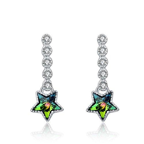 Y&x 925 argento sterling stallone orecchini magistralmente con brillanti acquamarina cristallo blu orecchini(blu)