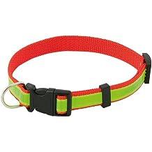 Alta visibilidad seguridad Collar para perros - Collar ajustable reflectante fluorescente (rojo)