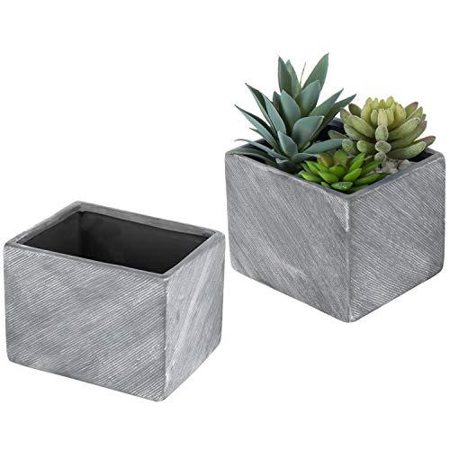 MyGift 15,2cm Terracotta Keramik Kräutertöpfe, rechteckig Sukkulente Übertopf Container, Set 2, grau Square Pot Holder