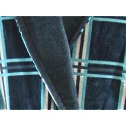 Hochwertiger Herren Velour Bademantel in Blau, 100% Baumwolle 400g/m², Größen: M, L, XL, XXL, XXXL (L)