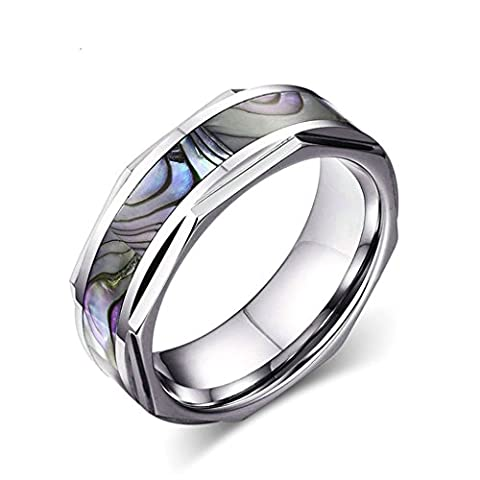 Bishilin 8MM Comfort Fit Tungsten Wedding Band Engagement Ring with Abalone Shell Inlay and Beveled Edges Size R
