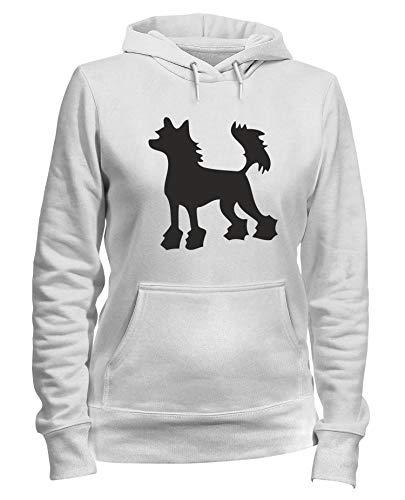 T-Shirtshock Kapuzen-Sweatshirt Frauen Weiss WES0577 Chinese Crested Hairless Dog Silhouette Chinese Crested Dog Sweatshirt