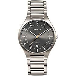 Bering Time Titanium Quartz Watch For Men With Titanium Strap, Silver