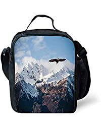 de09382f54 ZKHTO School Supplies Apartment Decor,Frozen Peaks Tops of The Mountain  with a Flying Eagle