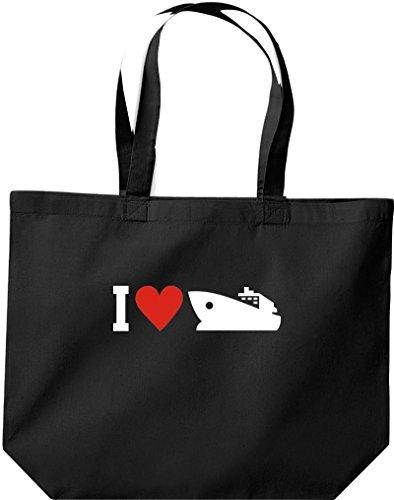 grande borsa della spesa, Shopper I LOVE YACHT, Stivale,capitano,SKIPPER Nero