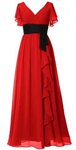 MACloth Women V Neck Short Sleeve Long Bridesmaid Dress Mother Formal Party Gown red