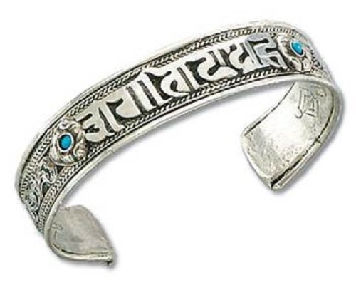 Om Mani Padme Hum Silber Metall Armband Blaue Steine verstellbar buddhistischen Armreif