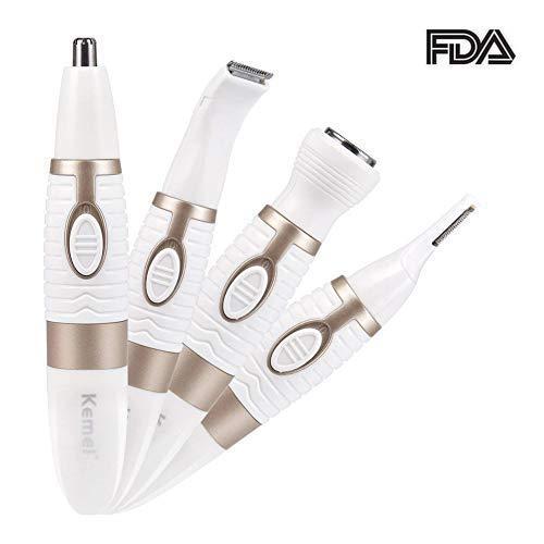 Cortadora de Pelo Nariz y Orejas Depiladora Eléctrica para Mujeres Máquina de Afeitar Portátil 4 en 1 para Afeitarse la Nariz, el oído, las cejas, las patillas Depilación.