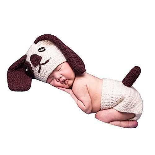 Fotografie Props Süßer Hund handgefertigt Häkel Strick Unisex Baby Gap Outfit Foto Requisiten (0–6Monate) (Baby Boy Cowboy-outfit)