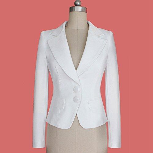Value Buy Go Go Go Damen-Mode-lange Hülse dünne gepaßte Damen-Büro-Blazer-Klage-Jacke Weiß