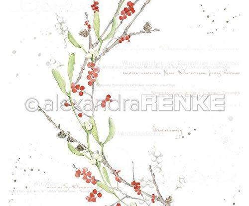 One-sided Scrapbook-Papier (1ks) Aquarell Mistletoe Grün Rot International, 30 30 Natur -, Papier -, Druck -, Scrapbooking -