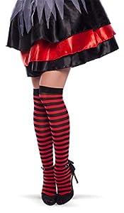 Folat 63557 - Calcetines hasta la Rodilla, diseño de Rayas, Color Negro y Rojo