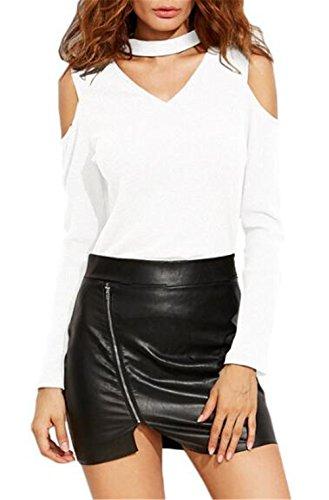 Donna Sexy Maglie Camicie Elegante A Manica Lunga Top V Scollo Casuale T Shirt Puro Colore Camicetta White