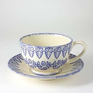 Brixton Pottery Tazza e piattino in gres porcellanato, motivo: merletto, colore: blu