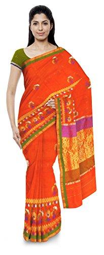 Akram Sarees Women's Kota Doria Handloom Cotton Silk Saree With Blouse Piece (Orange)