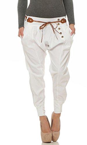 4849 Fashion4Young Legere Damen Bundfaltenhose Hose Haremshose Businesshose Damenhose m. Gürtel (weiss, S=36)
