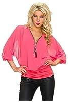 Fashion Damen Krepp Bluse Hemd Tunika Shirt mit Fledermaus Ärmeln, Zipper und Strass Steinchen, mehrere Farben