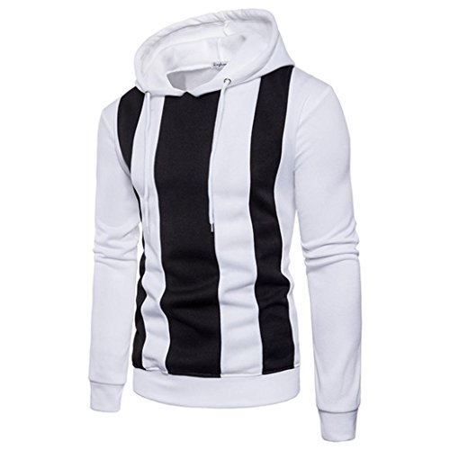 Langarm-Hoodie Männer Stitching Color Coat Jacke Outwear Sport Oberteile Pullover GreatestPAK,Weiß,XXL (Babe-leder-jacke)