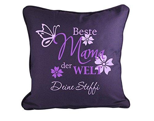 Preisvergleich Produktbild Wunschtext-Dekokissen Beste Mama der Welt B x H: 40cm x 40cm Farbe: pink von Klebefieber®