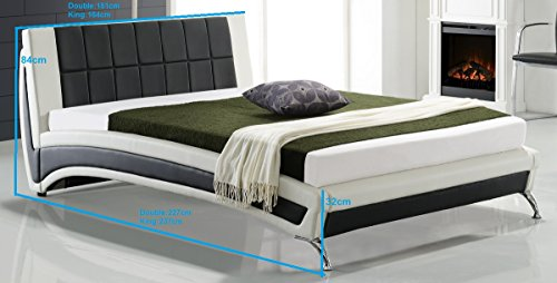 Cherry Tree Furniture LEPUS Modern PU Leather Upholstered Bed Frame Bedstead with Waffled Headboard & Chrome Feet in Black & White (4FT6 Double)