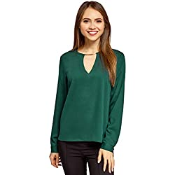 oodji Collection Mujer Blusa con Escote Gota y Decoración Metálica, Verde, ES 40 / M
