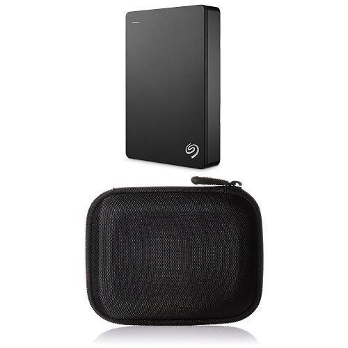 Seagate Backup Plus Portable 4 TB Externe Portable Festplatte (6,4 cm (2,5 Zoll) USB 3.0 und AmazonBasics Festplattentasche, schwarz