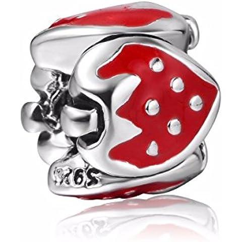 Fragola Mazzi Argento Sterling per braccialetti Pandora, Chamilia braccialetti collane - Fragola Collana