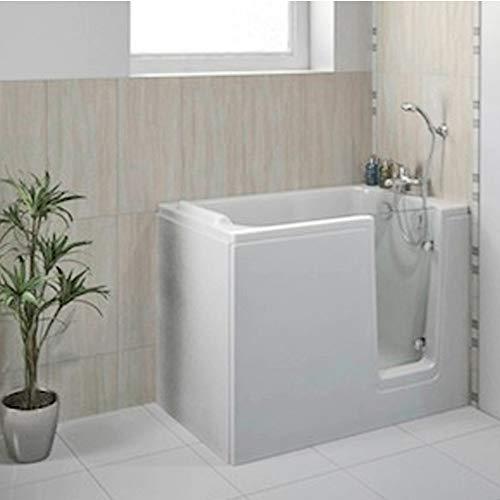 Sitzbadewanne mit Tür, Seniorenbadewanne 121x65cm mit Wannenschürze und Ablauf/Sifon, Ausführung Rechts