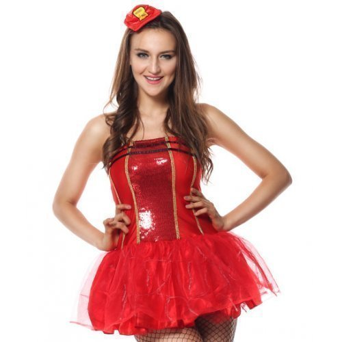 Paillette leuchtend Feuerwehrmann Feuerwehrmann Halloween Junggesellinnenabschied Kostüm Kleid Outfit UK 6-16 - Rot, 8-10 (Mini Me Kostüm Uk)