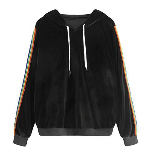 Cashmere-shirt-jacke (Hanomes Damen Pullover,Mode Einfarbig Damen Hoodie Casual Regenbogen Streifen Pullover Cozy Cashmere Sweatshirt Lose Kapuzenpullover Kordel Hoody)