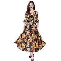 Women O-Neck Half Sleeve Long Dress, Ladies Floral Print Fashion Casual A-line Dress(X-Large,Yellow)