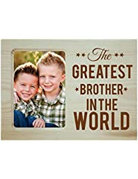 Yaya Cafe Birthday Gifts for Brother, Photo Frame for Table Greatest Brother in The World Engraved Wooden