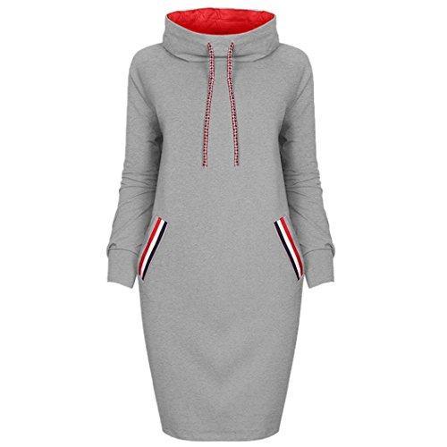 Kleid damen Kolylong Frau Herbst Winter Locker Pullover kleid mit kapuze Elegant Langarm Minikleid...