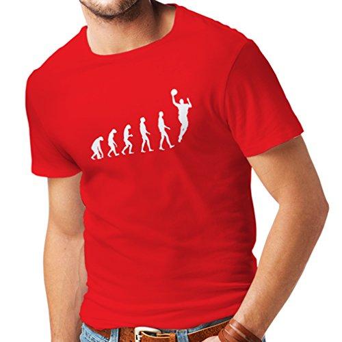 lepni.me Männer T-Shirt Evolution Basketball - Street Basket, Ich Liebe Dieses Spiel, Tolles Fan-Geschenk (Medium Rot Weiß)